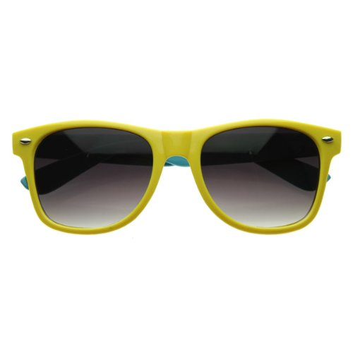 zeroUV - Super Two-Tone Hyper Neon Multi Color Party Horn Rimmed Shades Sunglasses - Bans Ray Yellow Neon