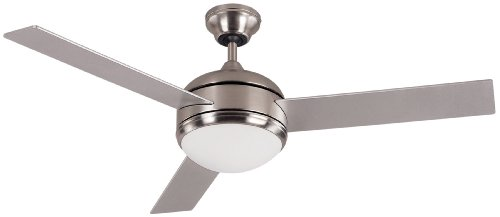(Canarm LTD Calibre BPT 48 Frosted Glass 1 Bulb Light Kit, 48-Inch Ceiling Fan with 3 Blades, Grey/White)