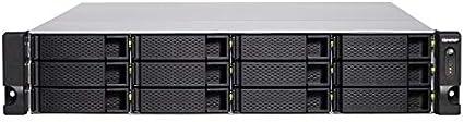 QNAP TVS-1272XU-RP Ethernet Bastidor (2U) Negro NAS - Unidad Raid (Unidad de Disco Duro, SSD, Serial ATA III, 2.5,3.5