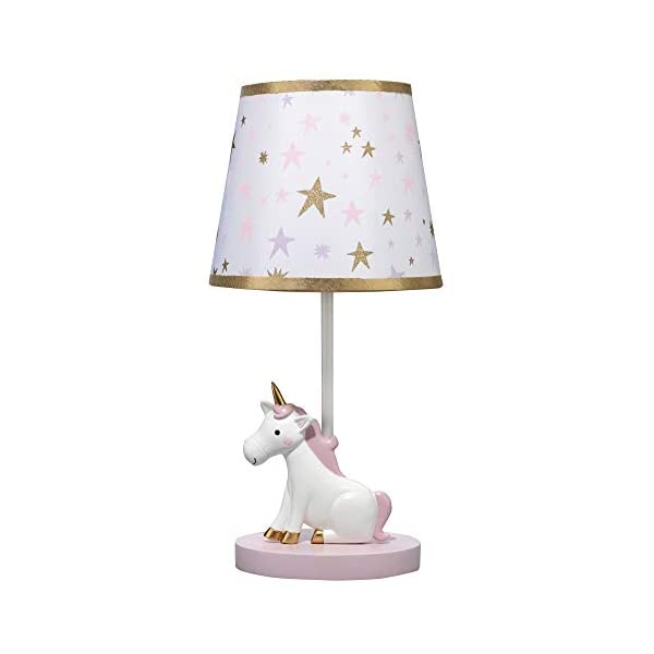Bedtime Originals Rainbow Unicorn Lamp with Shade & Bulb, White 3
