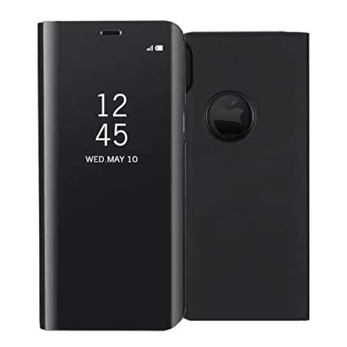UNIYA iPhone X Mirror Case, PC+PU Flip Electroplate Mirror 360 Degree Protective Case Cover (Black)