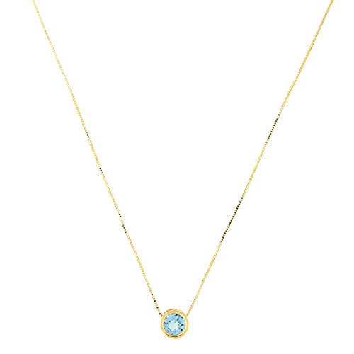 (14k Yellow Gold 7mm Genuine Blue Topaz December Birthstone Bezel Set Slide Pendant Necklace, 16