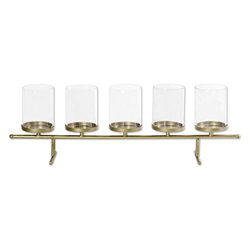 (Koyal Wholesale 5 Tea Light Candle Holder Centerpiece Stand, Floating Candle Vase Stand for Wedding Party, Christmas, Fall Floral Decorations, Thanksgiving, Dining Room Table Home Decor (Gold))