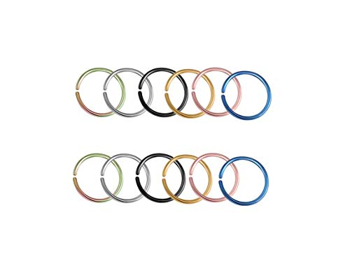 HuayoRong 12Pcs Fake Nose Ring Septum Lip Helix Cartilage Tragus Ear Clip Hoop Rings Stainless Steel Non Pierced Body Jewelry(20G Inner Diameter 8mm)