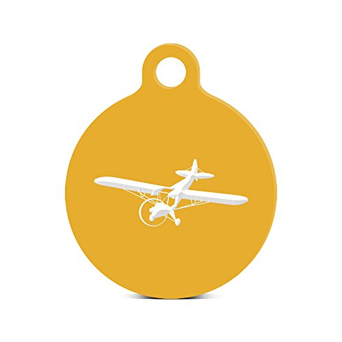 Cub Flying Piper - Flying Piper J3 Cub Round Keychain with Tab engraved airplane plane Gold
