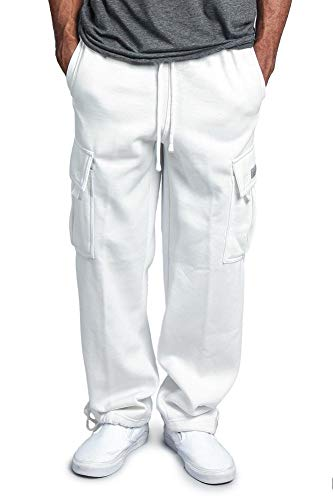G-Style USA Men's Solid Fleece Heavyweight Cargo Pants FL77 - White - 3X-Large - Solid Baggy Pant