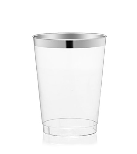 DRINKET Silver Plastic Cups 8 oz Clear Plastic Cups / Hard Tumblers Fancy Plastic Wedding Cups With Silver Rim 50 Ct Disposable For Party Holiday and Occasions SUPER VALUE PACK