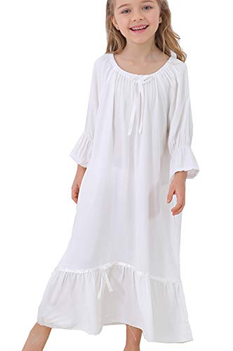 Clara Nightgown Costume (BAIYIXIN Fashion Store Little Girls Short Sleeve Cream Nightgown Robe Sleepwear Dress,White,140CM/fits7-8)