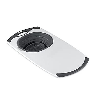 Over-the-Sink Collapsible Strainer Cutting Board in Grey by Dexas