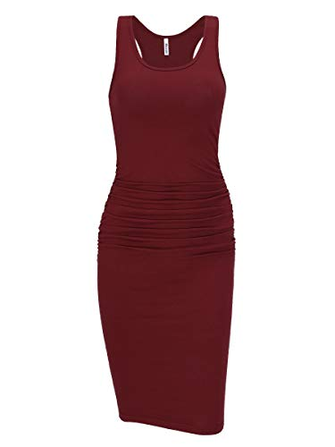 Missufe Women's Ruched Bodycon Sundress Midi Fitted Casual Dress (Burgundy, Small) ()