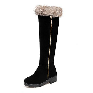 Black Brown Boots Boots Women'S UK6 EU39 US8 Nubuck Winter RTRY Gray Casual For Fashion Yellow Shoes Thigh Heel CN39 Leather Low Toe High Round Boots Dress dx1Yww0Uq
