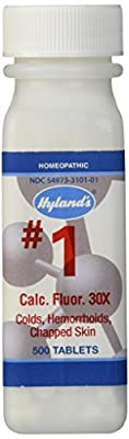 Hyland's Cell Salts #1 Calcarea Fluorica Tablets, Natural Relief of Colds, Hemorrhoids and Chapped Skin