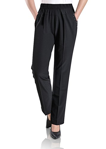 Smibra Womens Casual Loose Elastic High Waist Straight Leg Long Lounge Pants by Smibra