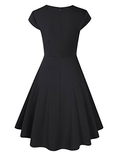 KoJooin Damen Vintage Kleid Cocktailkleid Abendkleid Ballkleid Rockabilly Taillenbetontes Kleid Knielang Schwarz 1 iw7ElFJ