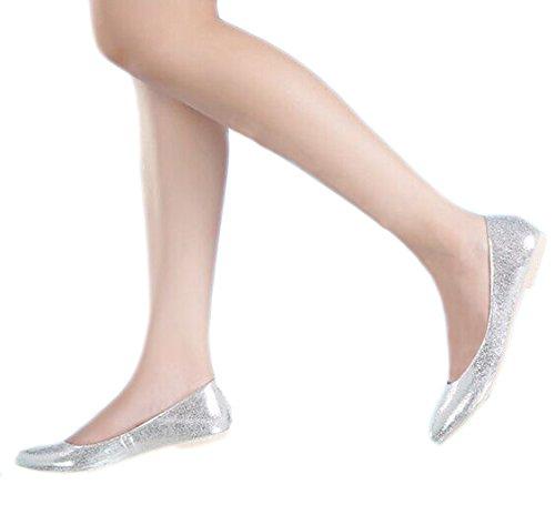 Zapatos De Vestir De Los Planos Del Ballet De La Boda De Loslandifen Elegante Para Mujer Pionted Toe (2046-10shanguang36, Plata)