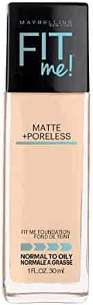 Maybelline Fit Me Matte + Poreless Liquid Foundation Makeup, Classic Ivory, 1 fl. oz. Oil-Free Foundation