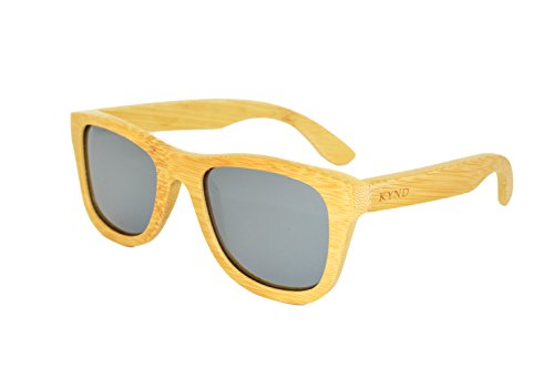 KYND Wooden Bamboo Polarized Sunglasses Wayfer Style For Men And Women - O.G.'s Natural Smoked Silver