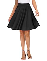 EXCHIC Women's Basic Skirt A-Line Midi Dress Casual Stretchy Skater Skirt