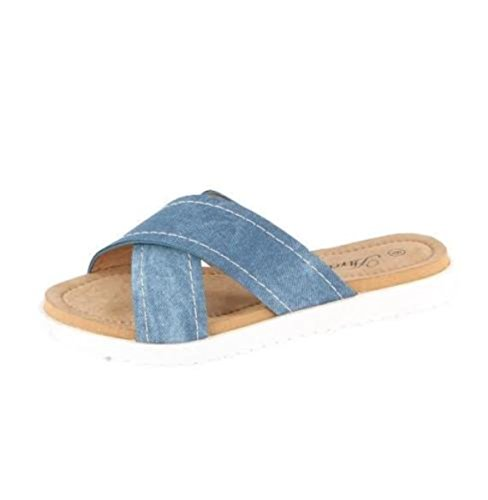 Womens Nuovo Stile Blu Denim Con Tacco Alto Con Zeppa Abito Comfort Sandalo Gladiatore Blu Perah-14
