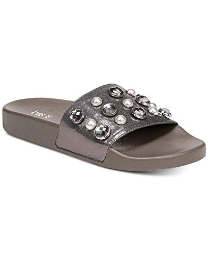 Price comparison product image Bar III Womens Sara Fabric Open Toe Casual Slide Sandals,  Pewter,  Size 6.0