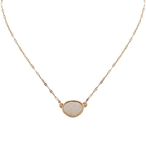 Humble Chic Simulated Druzy Delicate Necklace - Gold-Tone Dainty Chain-Link Simple Pendant - Oval Created Geode Stone Charm, Simulated Opal, Sparkly Pearly White, Opalescent, Simulated Moonstone ()