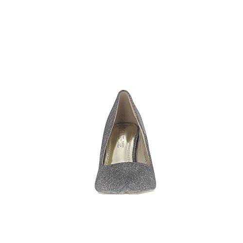 Ago appuntito grigio scarpe glitter tacco 8,5 cm