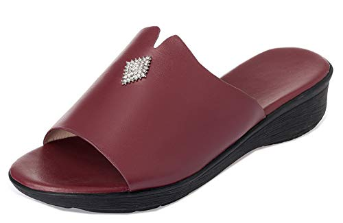 Enfiler Fermeture Mules Femme Talon Easemax Simple Rouge à Vineux Compensé wpTqEAIE