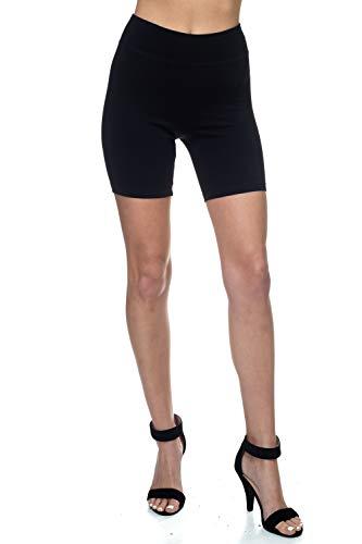(TODAY SHOWROOM Cotton Spandex Capri- Breathable Cotton Fabric-Yoga Waist Band-Cropped Leggings (Shorts Black,)