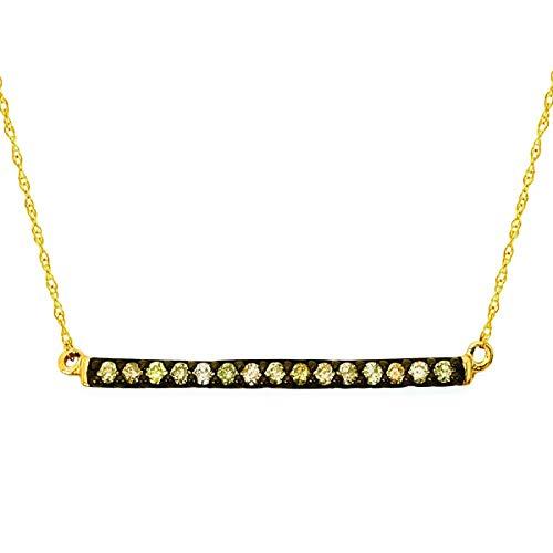 14K Yellow Gold 1/6 Cttw. Brown Diamond Bar Necklace, 18