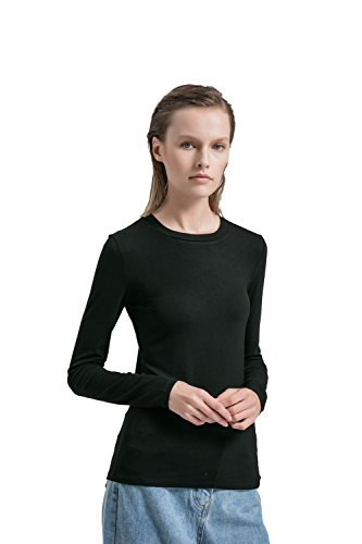 - Women Basic Long Sleeve Crew Neck Comfy Layering Slim Fit Stretch Henley Tees Shirts Top Black