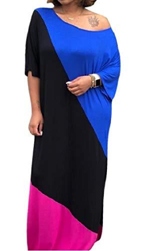 Coolred-femmes Taille Plus Des Blocs De Couleur Automne Épaulement Incliné Baggy Épissures Noir Robe