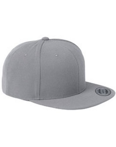 Original Yupoong Pro-Style Wool Blend Snapback Snap Back Blank Hat Baseball Cap 6098M - Silver (Pro Wool Blend Cap)