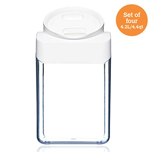 ClickClack Pantry Round Food Storage/Display Canister, 4.4 qt, Set of 4 ()