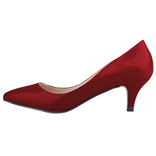 HooH Women's Kitten Heel Pointed Toe Work Dress Pumps Slip On winered RfjLT