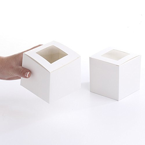 24 White Cupcake Boxes with Window for Weddings, Parties, and Everyday Events