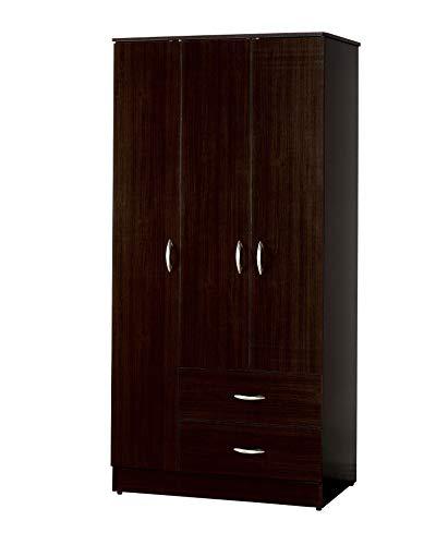 "Major-Q 72"" H Espresso Finish Wooden 3-Door 2-Drawer Wardrob"