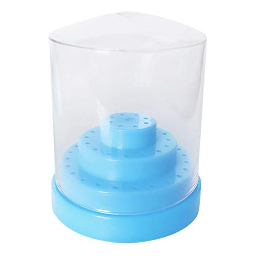 48Holes Nail Drill Bit Display Holder Standing with Cover Manicure Container Box (Color - Light blue) (Dot Furniture Blue Toronto)