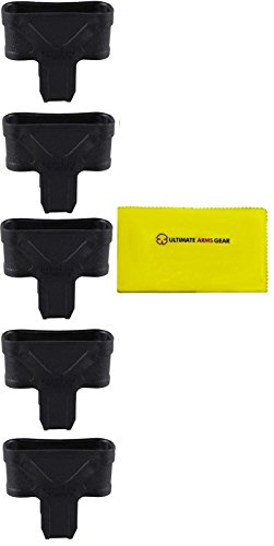 Magpul Pack of 5 Stealth Black MAG002 MAG 002 Original Mag Pull Assist 10/15/20/30 Round with Loop .308 7.62 NATO + Ultimate Arms Gear Cleaning Cloth