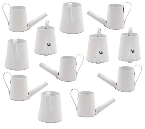 NW Wholesaler - Set of 12 Miniature White Metal Watering Buckets for Planter Decor, Party Favors, Fairy Gardens, Decorations and Goody Bags