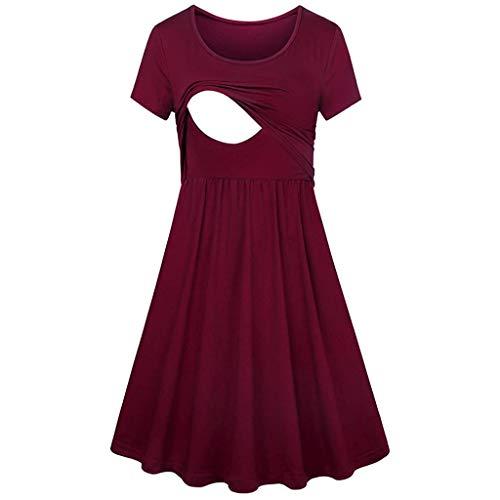 (TIFENNY Women Pregnant Maternity Nursing Dresses Crewneck Solid Color Breastfeeding Summer Short Sleeve Dress Red)