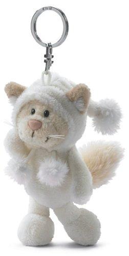 Nici 30601 - Llavero con gato de peluche (10 cm), color blanco