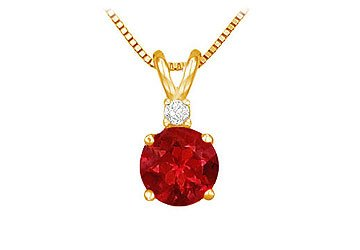 July Birthstone Ruby Round Pendant with Cubic Zirconia in Gold Vermeil over Silver