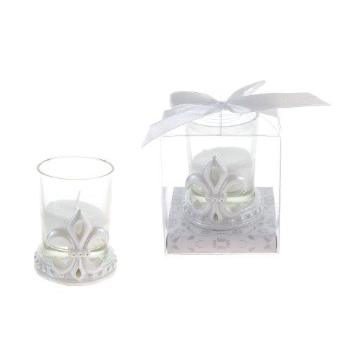 Lunaura Wedding Keepsake - Set of 12 Fleur De Lis Design Candle Set Favors - White (Wedding Favors Candle Keepsake)