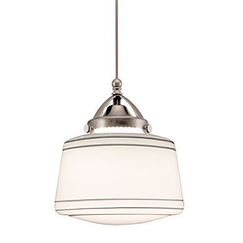 (WAC Lighting MP-LED494-SL/BN Plymouth 1-Light LED MonoPoint Pendant with Opal Blown Glass Shade and Brushed Nickel Finish)