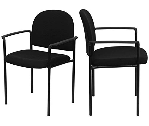 Contemporary Design Commercial Grade Guest Chair Contoured Cushions Fabric Upholstered Seat Solid Steel Tubular Steel Frame Powder Coated Finish with Arms Home Office Furniture - Set of 2 Black #2069