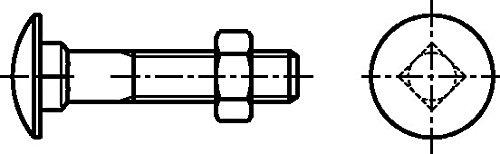 verzinkt Dresselhaus 0//0011//001//8,0//90// //01 Flachrundschrauben mit Vierkantansatz Mu 100 St/ück galv M 8 x 90
