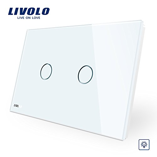 2 Gang Dimmer Switch - LIVOLO White US Standard AC 110-220V 2 Gang 1 Way Wall Light Dimmer Switch With Tempered Glass Panel,CE Certified, C902D-11