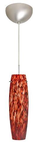 Besa Lighting 1BC-412141-SN 1X50W E12 Tutu Pendant with Garnet Glass, Satin Nickel Finish - Sn Satin Nickel Tutu