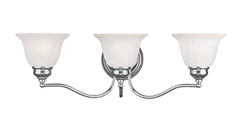 Bathroom Vanity 3 Light with White Alabaster Polished Chrome Size 24 in – World of Crystal