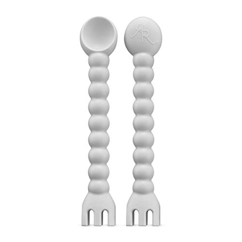 Ryan & Rose - Cutie Tensil (2 Pack) - Baby Spoon and Fork 2-in-1 Self-Feeding Utensil (Grey)